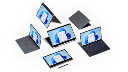 Windows 11 displayed on Microsoft Surface convertible laptops